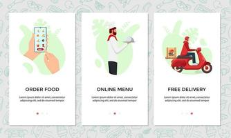 Order food online mobile app banner set. Chooses dish on smartphone screen template. Chef cooked food and express free scooter delivery from restaurant service concept. vector