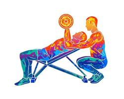 Abstract trainer helps a man to train his chest with dumbbells on the bench press from splash of watercolors. Vector illustration of paints
