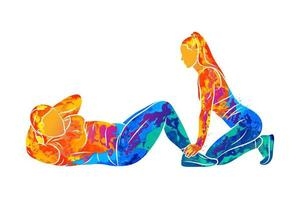 Abstract young plus-size woman does a press exercise with a trainer from splash of watercolors. Vector illustration of paints. Improves the abdominal muscles. Fitness, weight loss