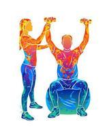 Trabajador de fisioterapia de rehabilitación profesional abstracto con paciente senior de salpicaduras de acuarelas. ilustración vectorial de pinturas vector