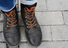 Old beaten up shoes photo