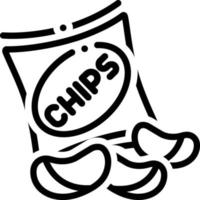Line icon for potato chips vector