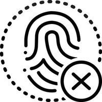 icono de línea para cancelación de huellas dactilares vector