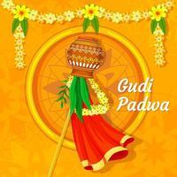 concepto de festival de gudi padwa, vector