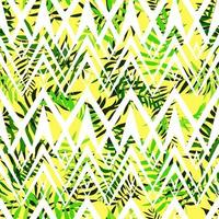 Seamless green leaves with white geometric ornament. Tropical background. Print for web, fabric and wrapping paper. vector
