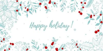 Greeting card winter with twig, pine, leaves and red berries. vector