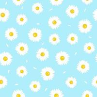 Chamomile flower with petals seamless pattern. Simple summer pattern. vector