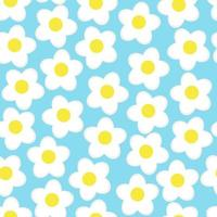 Simple flowers seamless. Summer pattern on blue background. vector