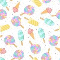 patrón de colores brillantes. bola de espiral de arco iris, helado y rociado dulce. fondo transparente para ropa de niños. vector