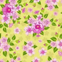 Pink flowers on yellow background. Seamless bright print. vector