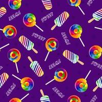 caramelo arcoiris. patrón transparente brillante con piruletas y helado. vector