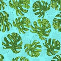 Seamless pattern with green contoured monstera. Bright backround. Creative botanic print. Designed for fabric design, textile print, wrapping, cover. vector