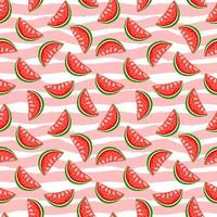 Sweet watermelon on stripes background. Summer seamless pattern. vector