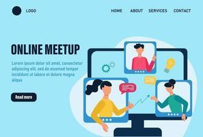 Plantilla de vector de página de destino de Meetup en línea. concepto de una reunión en línea, comunicación. la gente discute temas e ideas laborales en línea. trabajo en equipo en línea. ilustración vectorial de dibujos animados plana