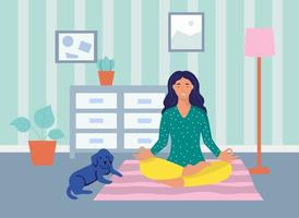 A young woman meditates at home.The concept of daily life, everyday leisure and work activities. Flat cartoon vector illustration.