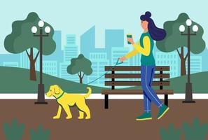 A young woman with a glass of coffee in her hands walks with her dog in the park. Lifestyle, urban landscape, summer park. Flat cartoon vector illustration.