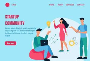 Sartup community landing page vector template. Teamwork, discussion of issues, generation of ideas, creativity. Young men and women work together. Flat cartoon vector illustration.