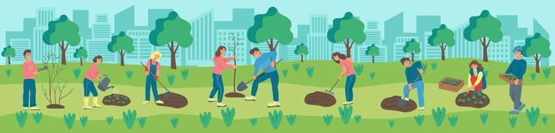 Banner people are engaged in gardening in the park. Men and women plant flowers and plants. Landscaping, taking care of nature. Flat cartoon vector illustration.