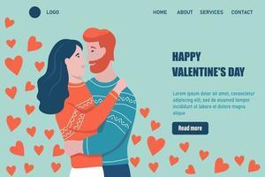 Plantilla de vector de página de destino de feliz día de San Valentín. abrazos de pareja amorosa. una cita, un hombre y una mujer enamorados celebran. ilustración vectorial plana