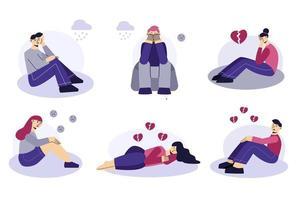 gente triste conjunto de personajes planos. hombres y mujeres jóvenes frustrados se sientan y se acuestan en el suelo. corazón roto, amor infeliz. el concepto de frustración, depresión, psicoterapia. vector