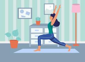 A young woman does yoga at home.The concept of daily life, everyday leisure and work activities. Flat cartoon vector illustration.