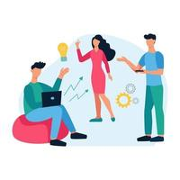 Concept of a startup community. Teamwork, discussion of issues, generation of ideas, creativity. Young men and women work together. Flat cartoon vector illustration.