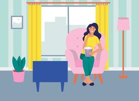 A young woman is sitting on the sofa, watching TV and eating popcorn. The concept of daily life, everyday leisure and work activities. Flat cartoon vector illustration.