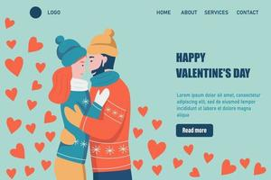 Happy Valentine's Day landing page vector template. Loving Couple hugs. A date, a man and a woman in love celebrate. Flat vector illustration