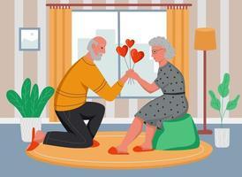 An elderly man gives an elderly woman balloons hearts. Seniors celebrate Valentine's day at home. Flat cartoon vector illustration.