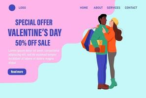 Special offer Valentine's day landing page vector template. Loving couple in winter clothes with balloons exchange gifts. Celebrate traditional winter event web banner. Flat vector illustration