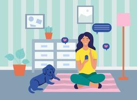 A young woman is sitting with a phone on the floor. The concept of online communication, Internet addiction, daily life, everyday leisure and work activities. Flat cartoon vector illustration.