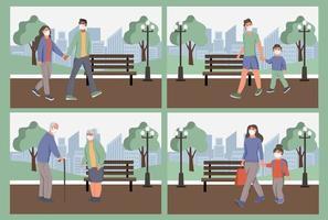 Ponga a las personas con máscaras protectoras contra el polvo en el parque. protección contra la contaminación del aire urbano, smog, vapor. cuarentena de coronavirus, concepto de virus respiratorio. ilustración vectorial de dibujos animados plana. vector