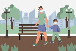 Hombre con niño en máscaras protectoras contra el polvo wolk en el parque. protección contra la contaminación del aire urbano, smog, vapor. cuarentena de coronavirus, concepto de virus respiratorio. ilustración vectorial de dibujos animados plana. vector