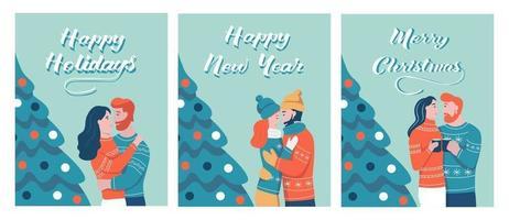 un conjunto de tarjetas navideñas para navidad. las parejas de enamorados se abrazan en el fondo del árbol de navidad. letras feliz navidad, feliz año nuevo, felices fiestas. ilustración vectorial de dibujos animados plana. vector
