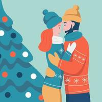 Christmas card. Couple in love hugging on the background of the Christmas tree.  Flat vector illustration. Banner, poster, template.