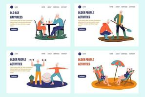 Elderly people landing page set. Pensioners sunbathe on the beach, sit in cafes, work in the garden, play sports at home. Template, banner. Flat vector illustration