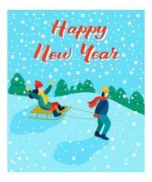 tarjeta de Navidad. niños en trineo. letras feliz año nuevo. ilustración vectorial. pancarta, póster, plantilla. vector