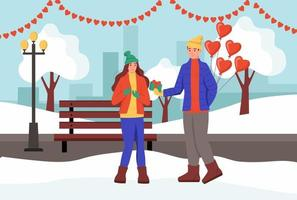 una pareja intercambia regalos y se besa en un parque de invierno. un hombre y una mujer jóvenes celebran el día de san valentín. ilustración vectorial plana. vector