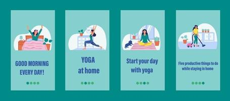 Daily life mobile app template. Concept of home Affairs, self-isolation, sports at home. Flat vector illustration.