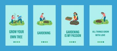Garden work mobile app template. People are engaged in gardening, planting trees and plants. Flat vector illustration.