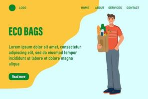 A man holds a bag of groceries  landing page. Concept of recycling, ecology, nature care. Website homepage landing web page template.Vector illustration vector