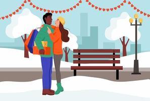 una pareja amorosa se abraza en un parque el día de San Valentín. joven y mujer con regalos y paquetes de la tienda. ilustración vectorial plana. vector