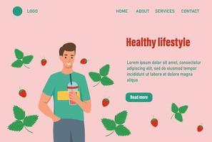 un hombre bebe una página de inicio de batido de fresa. el concepto de una nutrición adecuada y un estilo de vida saludable. Ilustración de vector de plantilla de página web de aterrizaje de página de inicio de sitio web