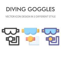 goggles icon pack isolated on white background. for your web site design, logo, app, UI. Vector graphics illustration and editable stroke. EPS 10.