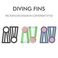 fin diving icon pack isolated on white background. for your web site design, logo, app, UI. Vector graphics illustration and editable stroke. EPS 10.