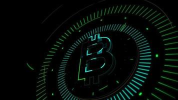 Bitcoin Cryptocurrency Symbolic Moving in a Dark Background