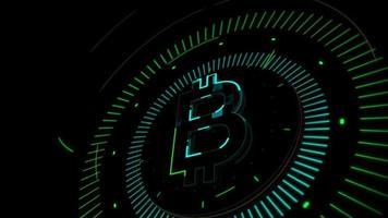 bitcoin criptomoeda simbólica movendo-se em um fundo escuro