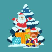 Cute little bull and Santa Claus with presents and tree. Ox symbol of Chinese New Year 2021. Merry Christmas and Happy new year greeting card poster design. Vector illustration isolated background.