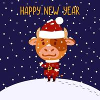 Cute little bull in santa claus costume. Ox symbol of the Chinese New Year 2021. Merry Christmas and Happy new year greeting card, poster design. Vector illustration isolated background.