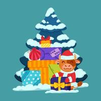 Cute little bull in santa claus costume with tree and presents. Ox symbol of the Chinese New Year 2021. Merry Christmas and Happy new year greeting card, poster design. Vector illustration.